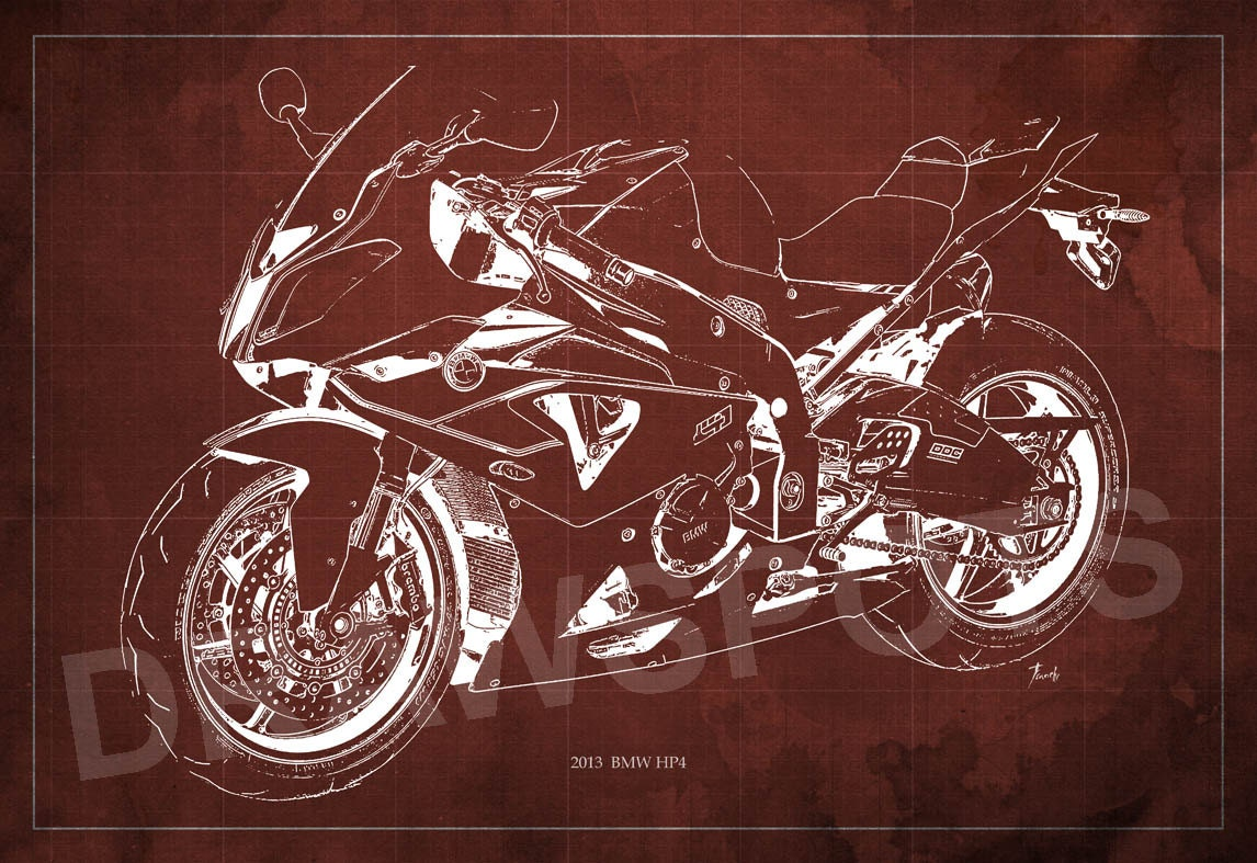 Motorcycle poster bmw hp4 2013 sport blueprint art print 8x12in and motorcycle poster bmw hp4 2013 sport blueprint art print 8x12in and larger sizes motorcycle art printdrawing for men cave malvernweather Images