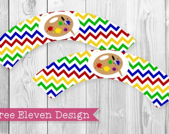 Art PRINTABLE Cupcake Wrappers