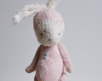 Made To Order Stuffed Animal Bunny Handmade Easter White Rabbit Plush Soft Toy Pink Costume Free Shipping Gift For Her 7 Inches