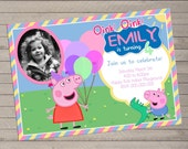 Peppa Pig Birthday Invite with Photo