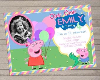 Peppa Pig Birthday Invite with Photo