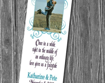 50, 100 or 150 Photo Bookmarks, Great Wedding Party Favors & Keepsake for your guests,  Any Color