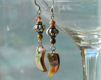 Red and Green Jasper Gemstone, Antiqued Silver Earrings - Hand carved Abalone Shells - Nautical, Beach, Bohemian