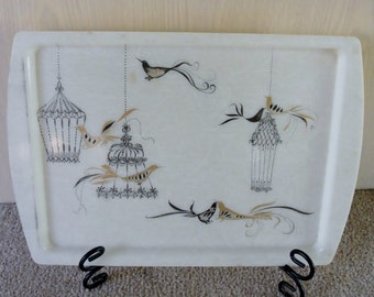 Mid Century Modern Fiberglass Tray Birds and Cage Designs Black Gold