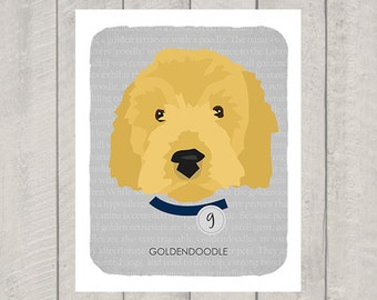 Goldendoodle - Dog Nursery Art Print - Custom