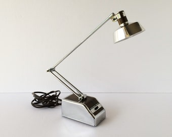 Vintage Adjustable Task Lamp, Midcentury Folding Desk Lamp, Collapsible Reading Lamp Chrome and Faux Wood Modern Bedside Student Office Lamp