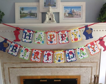 Sesame Street Elmo and Cookie Monster Polka Dot Happy Birthday  Banner