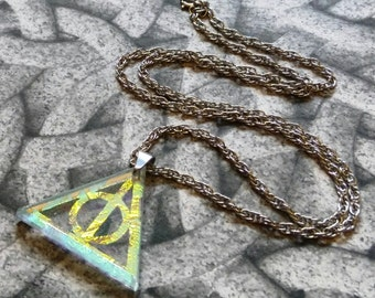 Fan Art Deathly Hallows cold worked dichroic jewel with stainless steel chain