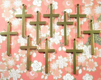 10 Brass 37mm Crosses
