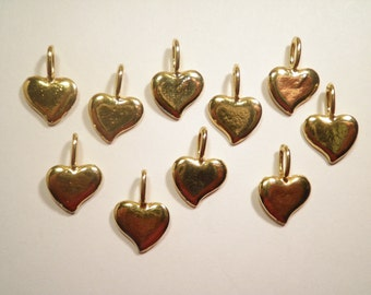 10 Goldplated Heart Pendants