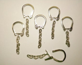 6 Sillverplated Horseshoe Key Chains