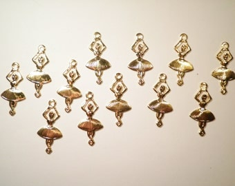 12 Vintage Goldplated 25mm Dancing Ballerina Charms