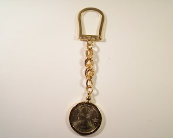 1 Gold Plated Horseshoe Key Chain with U.S. Quarter Dollar