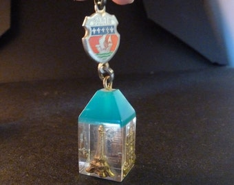 Vintage French Souvenir Paris Eiffel Tower Sacred heart  Arch of triumph Cathedral of Paris  Travel shield  Old Pendant  Medal Jewelry