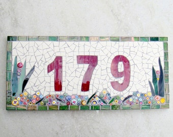 Outdoor Mosaic House Number, 3 digit, floral, dark red, plaque,sign, street address, door number, bespoke,custom, ceramic,glass, ooak