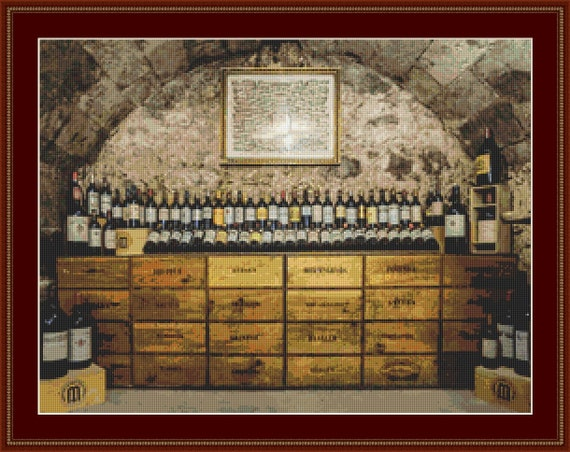 Wine Cellar Cross Stitch Pattern /Digital PDF Files /Instant downloadable