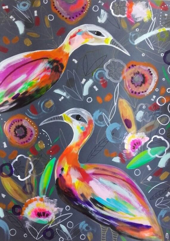 Oiseaux peinture originale peinture originale couple for Deco peinture originale