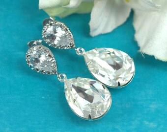 Swarovski Crystal Clear Earrings Bridal Earrings Bridesmaid Gift Wedding Jewelry Teardrop Earring White Jewelry Cubic Zirconia Crystal CC31P