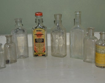8  Vintage Clear Medicine & Collectible Bottles Clear  Advertising