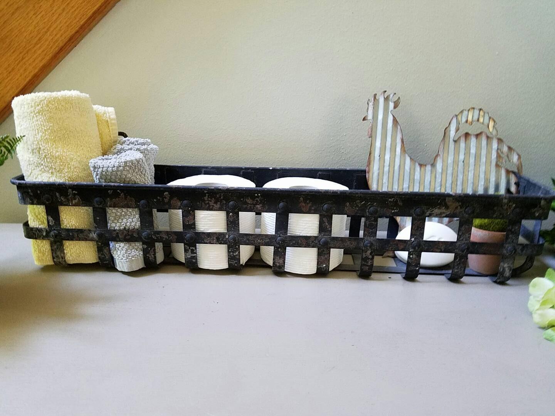Long Black Metal Basket Hanging Basket Farmhouse Decor Chippy