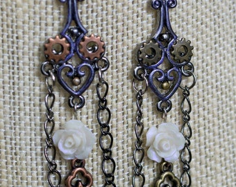 White Roses with Keys and Gears Earrings
