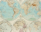 1877 Antique large PHYSICAL WORLD MAP. Geology. Rivers. Mountains. 139 years old chart