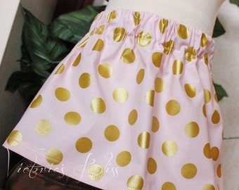 Market Circle Skirt ~Pink and Metallic Gold Polka Dot Custom Boutique Girls Skirt, Toddler Girls, Made to order:  Newborn to 5/6 Girls