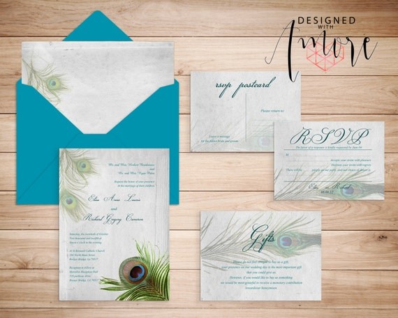 Atlanta Wedding Invitations: PEACOCK WEDDING INVITATION Printable By DesignedWithAmore