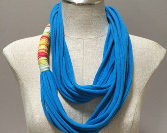 Jersey Scarf - Blue - Repurposed T Shirt, Up-cycled, Eco-friendly, Woman, Girl