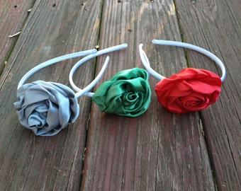 Silver,Green Satin Rose Headband