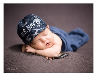 Baby NAVY NWU Infant Military Caps - U.S. Navy Baby Hat- Military baby, Navy Baby