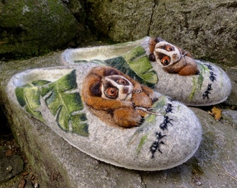 Felted Slippers - Beauty of nature EU size 45