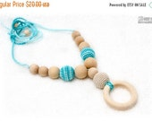 25% off Nursing necklace, Organic Teething necklace with wooden ring pendant -cream and turquoise, natural wooden beads