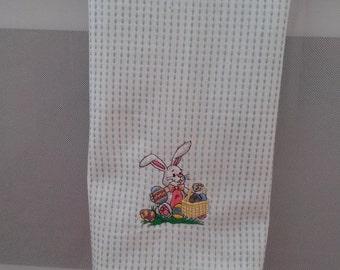 Easter/bunny rabbit/tea towel/Embroiderd/eggs