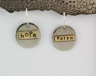 Personalized Earrings, Inspirational Words Earrings, Hope and Faith, Religious Jewelry, Hammered Disc Earrings, RP0631ER