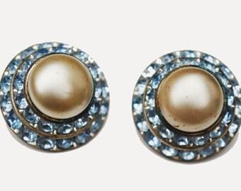 Blue Rhinestone Pearl Earrings Mid century Domed clip on earrings