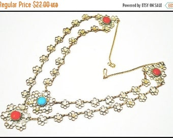 Silver Tone Filigree Red and Blue Flower Bib Necklace India