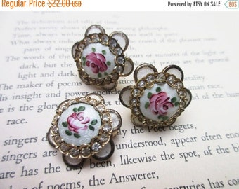 Guilloche Enamel Brooch and Earring Set Rhinestone and Pink Rose Flower
