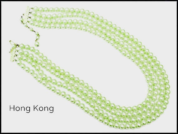 Hong Kong Pearl Necklace light Green bead Multi strand necklace mid century