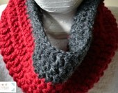 Red and Gray Chunky Cowl, Red and Gray Chunky Scarf, Chunky Crochet, Male Cowl, Female Cowl, Unisex Cowl, Cool Weather, Scarf