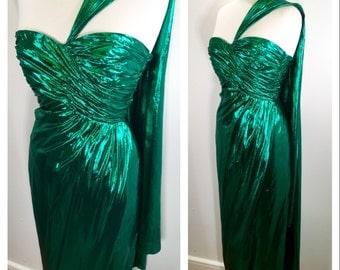 1980s Victor Costa Emerald Green Evening Gown Vintage Designer One Shoulder Cape Dress Sparkly Wrap Dress Holiday Party Dress Midi Dress