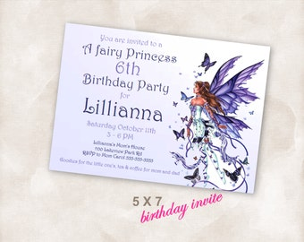 5X7 Birthday party invite Invitation Instant Download printable Just add your info and print!  Princess fairy tale birthday party