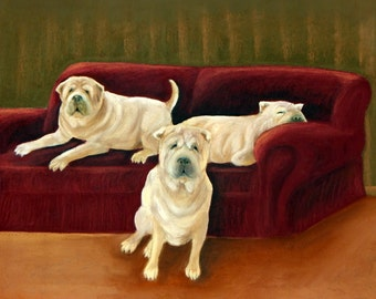 Shar-pei Family Portrait, 5 x 7 print on 8.5 x 11, 65 lb. acid-free off-white matte