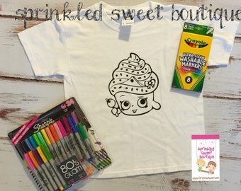 Shopkins Cupcake Boys Girls Custom Made Coloring Shirt Washable Reuse Perfect Birthday Child Gift Party Favor Can Add Name