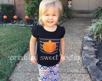 Halloween Fall Sparkle Aztec Pumpkin Girls Shirt Custom Monogram Fall Applique Embroidery Matches our Aztec Leggings