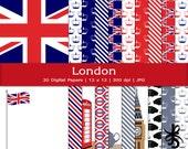 Digital Scrapbook Papers-London-England-British-Union Jack-Big Ben-English-United Kingdom-British Flag-Tea-Instant Download Clip Art