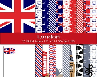 Digital Scrapbook Papers-London-England-British-Union Jack-Big Ben-English-United Kingdom-British Flag-Tea-Instant Download Clip Art