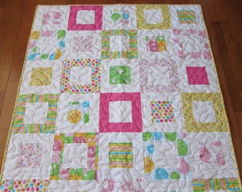 Dr. Seuss Quilt....Hot pink minky backing....yellow dot binding....READY TO SHIP
