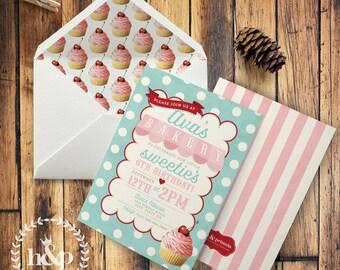 Bakery, Cupcake, Bake Shoppe, Baking, Sweet Shoppe Birthday Party Invitation