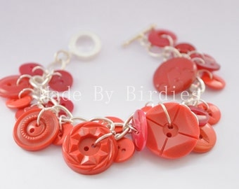 Red Button Bracelet (Silver Plated)
